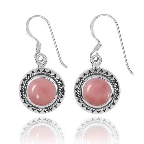 NEA3767-PPKOP -  Elegant Retro Round Earring with Peru Pink Opal  Stones