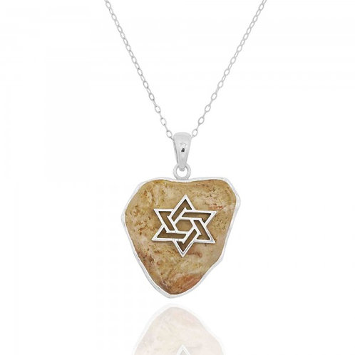 NP11644-JRSL - Elegant Star Of David Pendant with Jerusalem stone