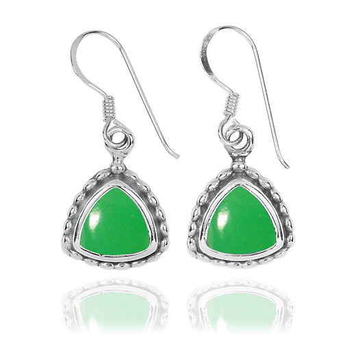 NEA3754-CRP - Classic Triangle Earrings with Chrysoprase Stones