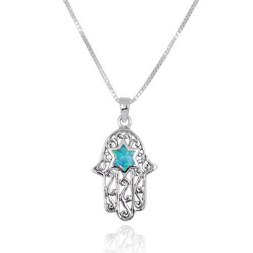 NP1585-BLOP - Sterling Silver Hamsa Hand Pendant - Blue Opal Jemstone - Jewelry