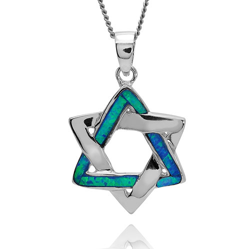 NP4055-LBLOP - Star Of David Pendant with S Blue Opal Stripes