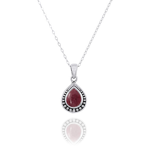 NP12366-RDN -  Drop Shape  Silver Pendant with a  Rhodonite Piece