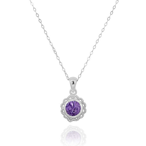 NP12340-CHR - Classic Round Flowery  Silver Pendant with a Charoite Piece
