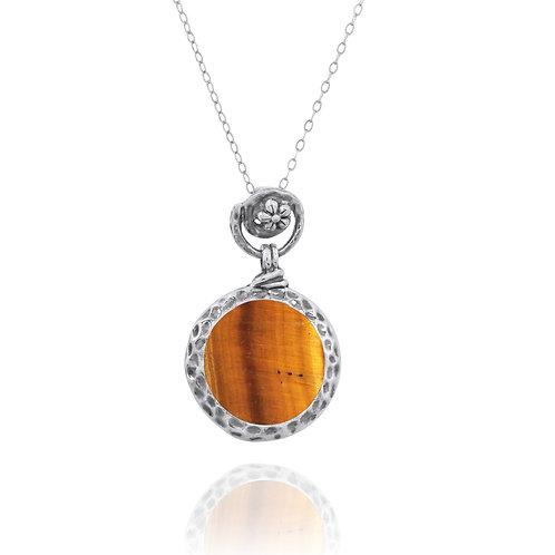 NP11601-BRTE- Elegant Round Silver Pendant with Tiger Eye Stone - Flower Top Des