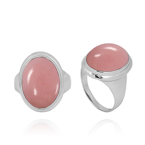 NRB5495-PPKOP - Classic Ring with Oval Peru Pink Opal Stone