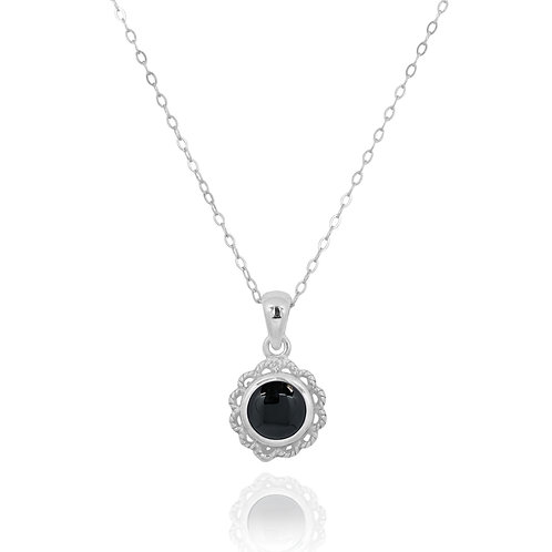 NP12340-BKON - Classic Round Flowery  Silver Pendant with a Black Onyx Piece