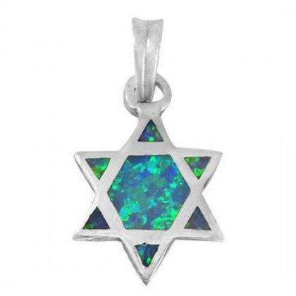 NP0921-OP - Sterling Silver Star of David Pendant - Roman Glass Jewelry