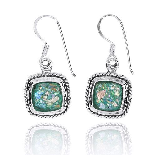 NEA3762-RG -Classic Square Roman Glass Earrings
