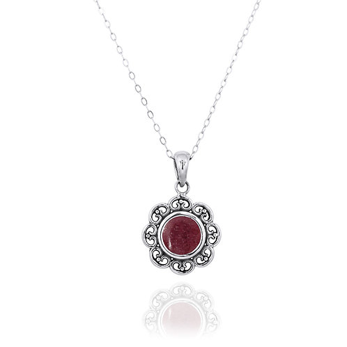 NP12223-RDN - Elegant Flower Silver Pendant with a Round Rhodonite Piece