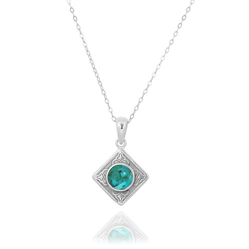 NP12361-GRTQ - Ethnic Square Design Silver Pendant with a Round Turquoise Piece