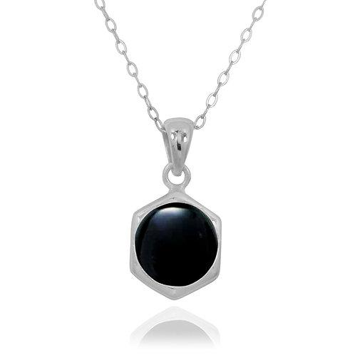 NP12232-BKON - Classic Silver Pendant with a Round Black Onyx Piece