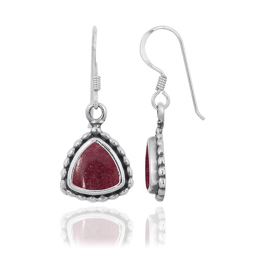 NEA3754-RDN - Classic Triangle Earrings with Rhodonite Stones