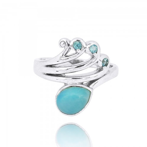 [NRB8367-LAR-SWBLT] Sterling Silver Wave Ring with Swiss Blue Topaz Crests and P