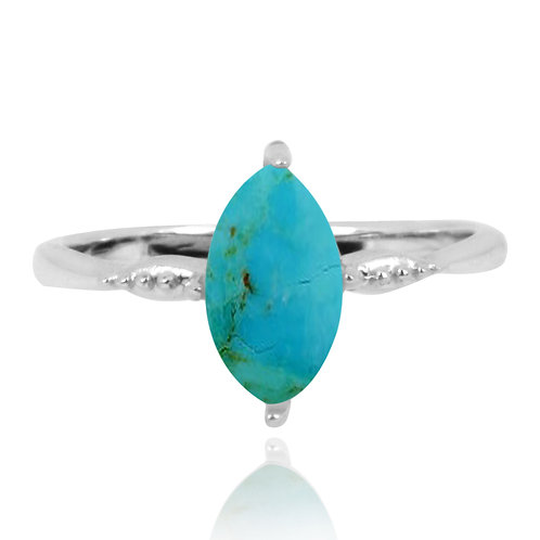 NRB4594-GRTQ - Elegant Stacking Ring - Turquoise Stone