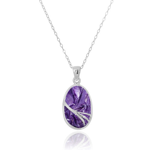 NP7090-CHR - Oval Silver Pendant with Charoite