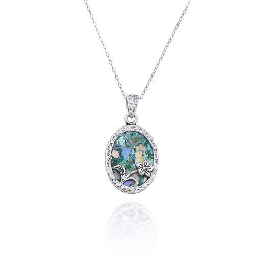 NP8166-RG - Elegant Oval Flower Design Silver Pendant with Roman Glass