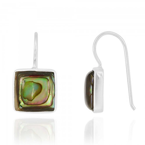 [NEA2411-ABL] Cushion Shape Abalone Drop Earrings