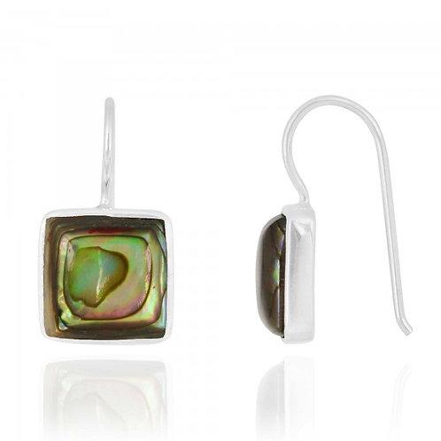 [NEA2411-ABL] Cushion Shape Abalone Drop Earrings