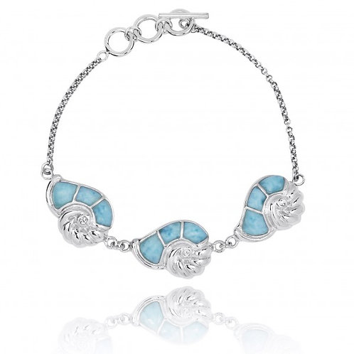 [NB1457-LAR-CRS] Sterling Silver Seashell with Larimar and Crystal Chain Bracele