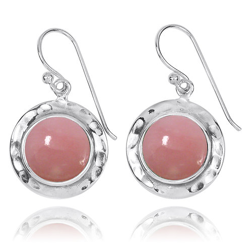 NEA3726-PPKOP- Round Classic Earrings with Peru Pink Opal