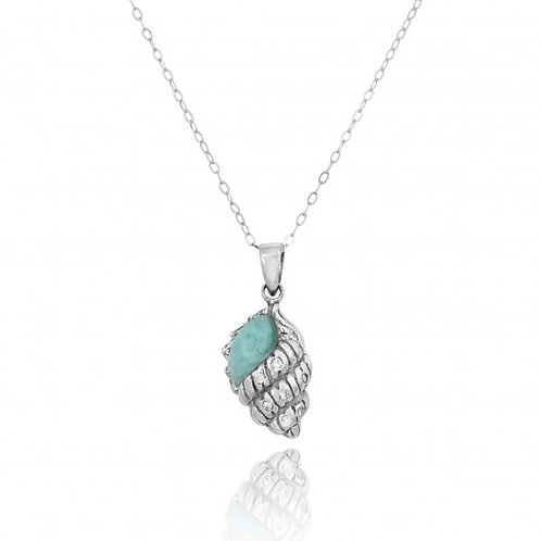 [NP10745-LAR-WHCZ] Conch Shell with Larimar and White CZ Sterling Silver Pend