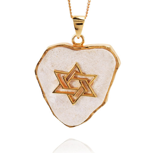 NP11644-JRSL-GP - 18 k Gold Plated Star Of David Pendant with Jerusalem stone