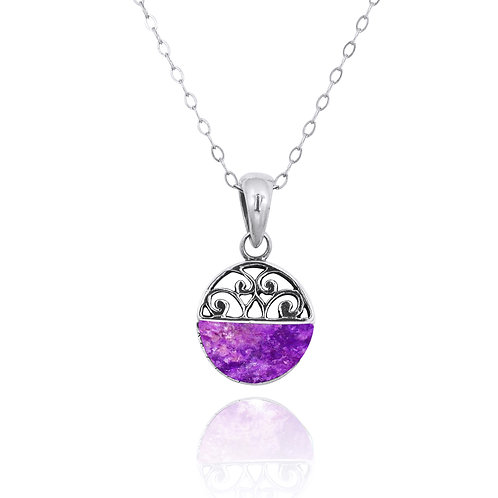 NP12200-SUG-  Elegant Silver Pendant with a Sugilite Piece