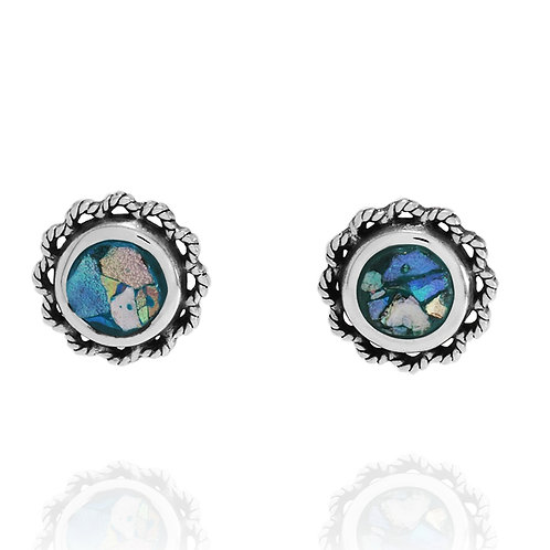 NES3505-RG -Classic stud Earrings with Roman Glass