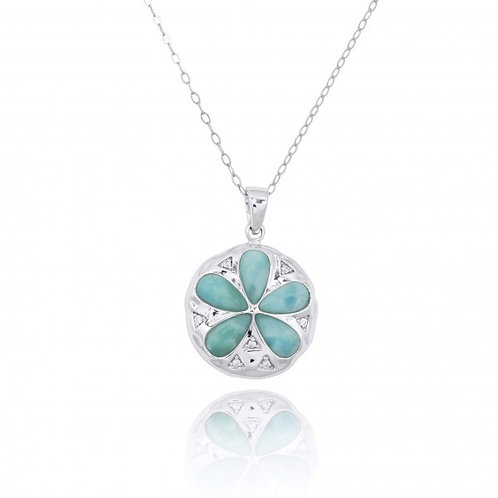 [NP11035-LAR-WHCZ] Sterling Silver Sand Dollar with Larimar and CZ Pendant