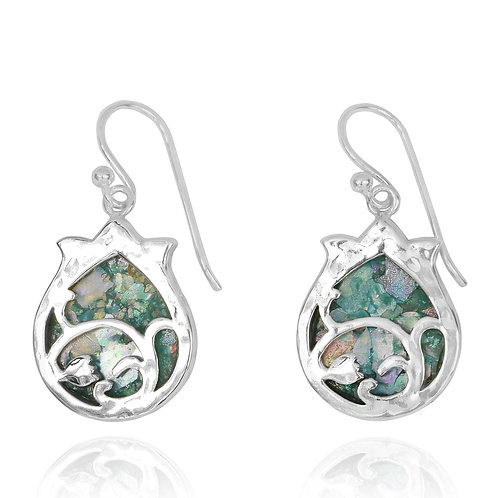 NEA3599-RG - Elegant Roman Glass Silver Earrings - Pomegranate Design