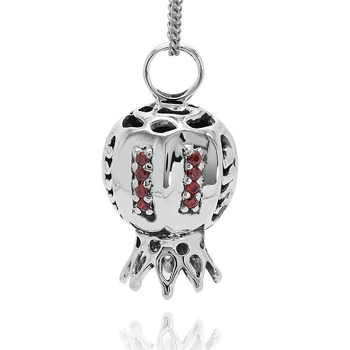 NP12170-GAR - The Israeli Pomegranate Pendant- Stripe design