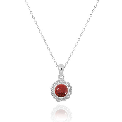NP12340-SPC - Classic Round Flowery  Silver Pendant with a Sponge Coral Piece