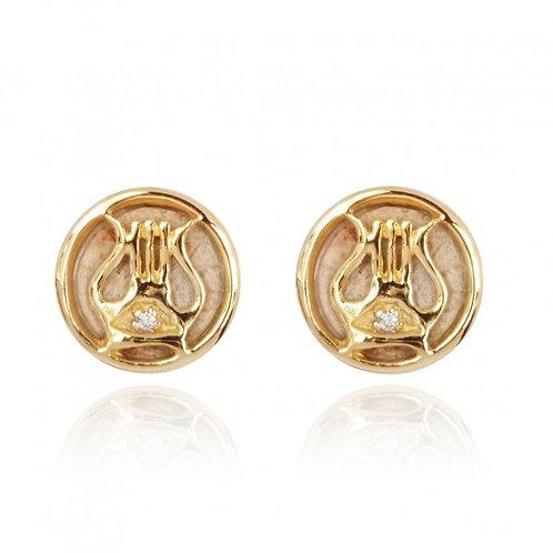 [NES3692-JRSL-DIA-14K] 14K Gold David's Harp Earrings with Jerusalem Stone and C