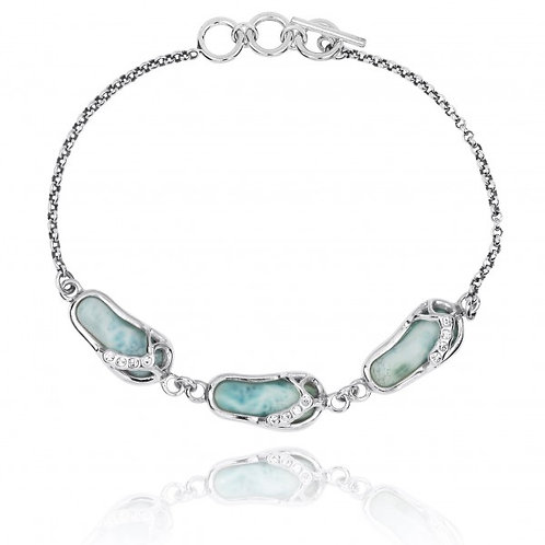 [NB1454-LAR-WHCZ] Sterling Silver Sandals with Larimar and White CZ Chain Bracel