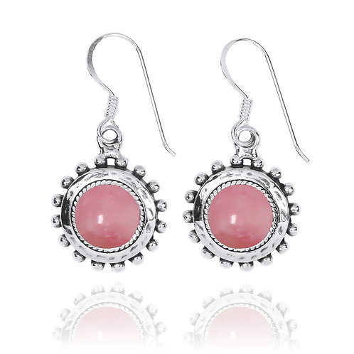 NEA3756-PPKOP - Round Spiked Earrings with Peru Pink Opal