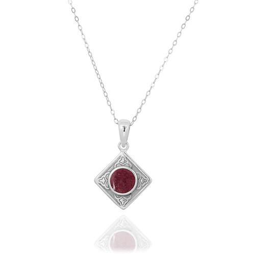 NP12361-RDN- Ethnic Square Design Silver Pendant with a Round Rhodonite Piece