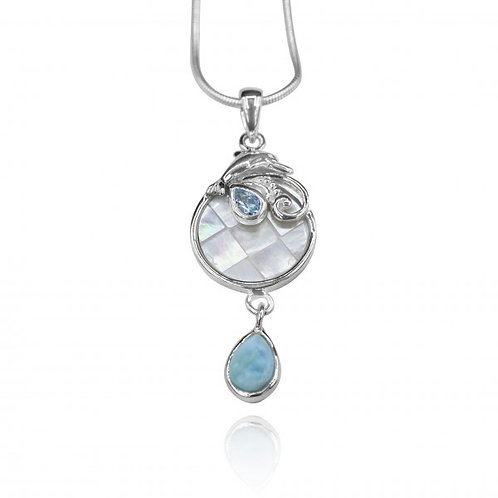 [KPG27-LAR] Pear shape larimar , swiss blue topaz , Dolphin , mother of pearl pe