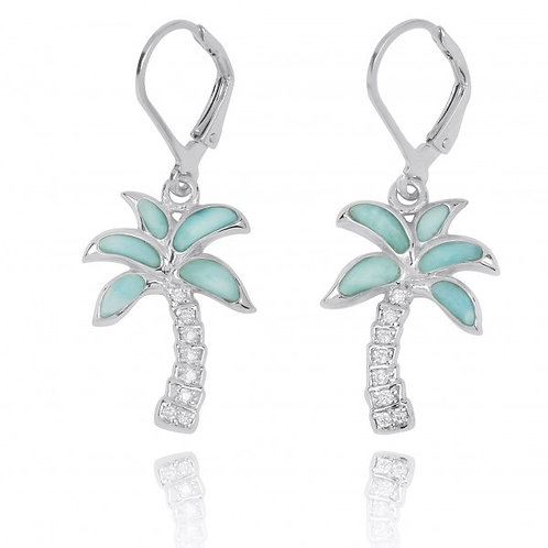 [NEA3223-LAR-WHCZ] Sterling Silver Palm Tree with Larimar and White CZ Lever Bac