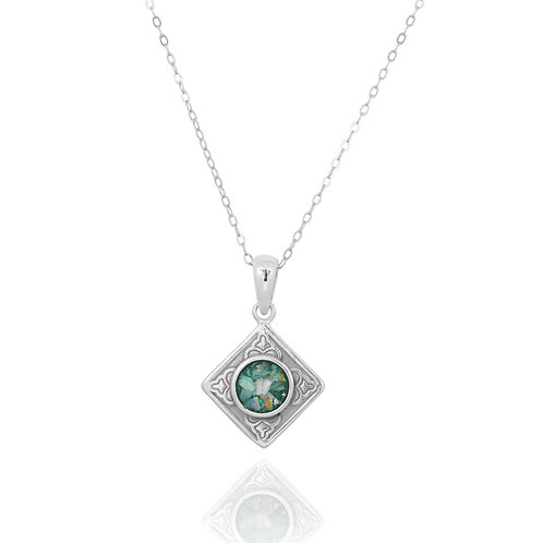 NP12361-RG- Ethnic Square Design Silver Pendant with a Round Roman Glass Piece