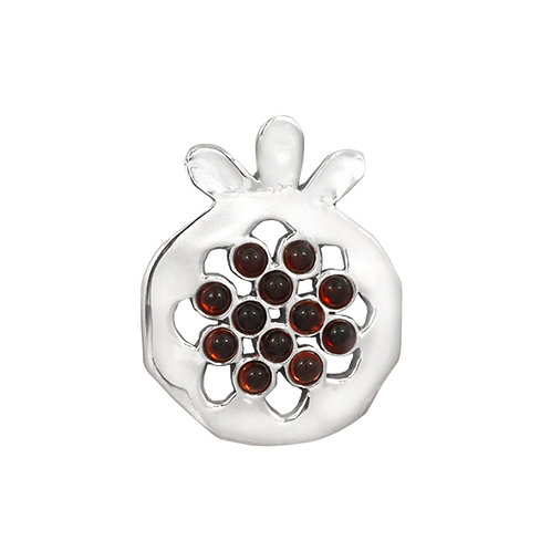 NP11906-GAR - Elegant Pomegranate  shape Silver Pendant with Garnet Pieces