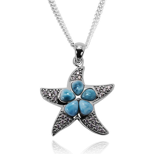 NP11030-LAR-WHCZ - Elegant free-shape design Star fish Pendant with Larimar