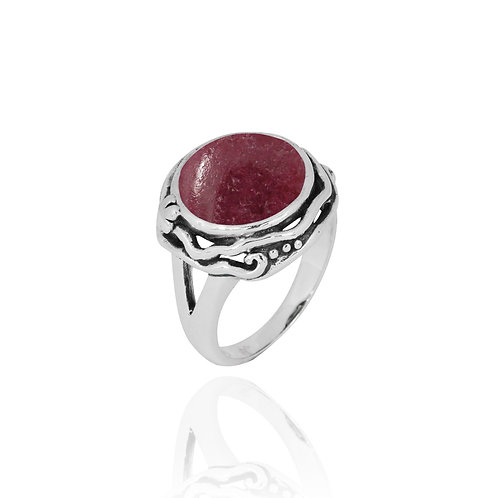 NRB8801-RDN -  Round Shape Rhodonite Contemporary Ring