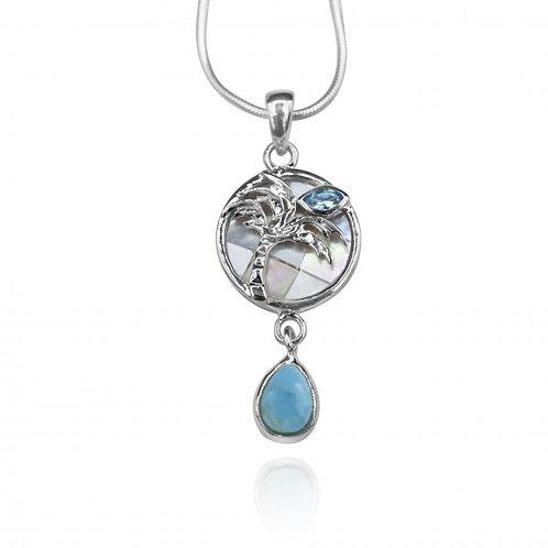 [KPG26-LAR] Pear shape larimar , swiss blue topaz , palm tree , mother of pearl
