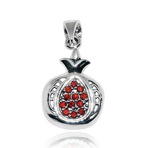 NP11304-GARCZ - Sterling Silver Pendant with Garnet Stone - Handmade Jewelry