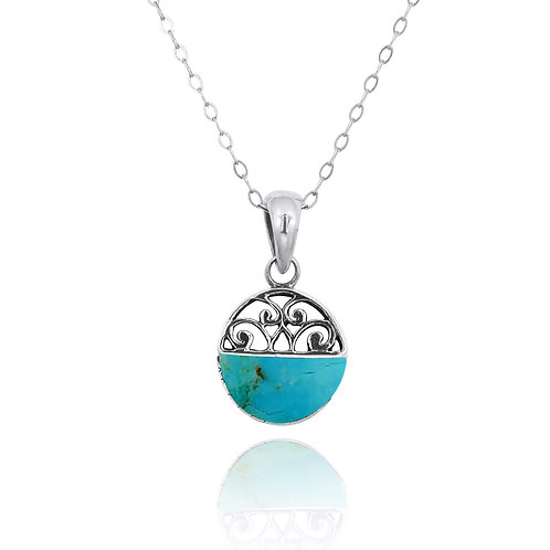 NP12200-GRTQ -  Elegant Silver Pendant with a Turquoise Piece