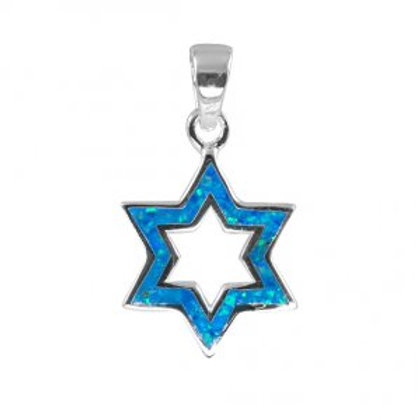 NP4513-BLOP - Sterling Silver Star of David Pendant - Gemstone Jewelry