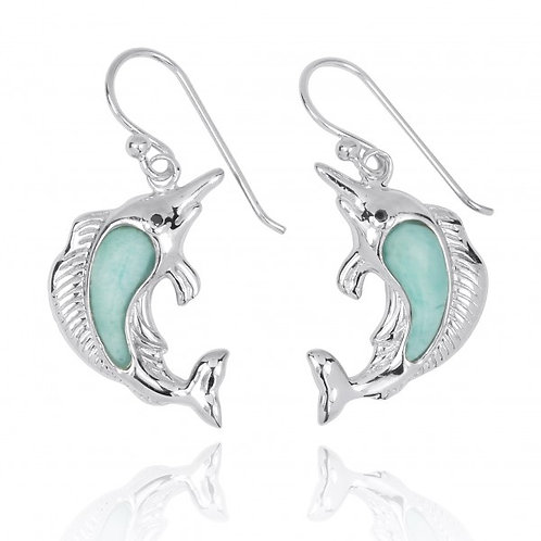 [NEA3248-LAR-BKCZ] Sterling Silver Swordfish with Larimar and Black CZ French Wi