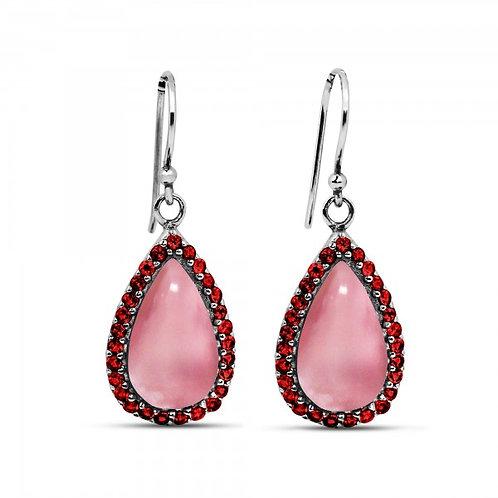 [NEA3011-PPKOP-GAR] Pear Shape Peru Pink Opal Drop Earrings