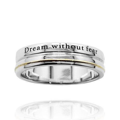 KRG11 - CLASSIC SILVER RING WITH 14K GOLD WIRE AND LASER ENGRAVING
