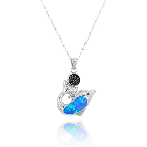 NP11308-BLOP - Dolphin Pendant with Larimar and Black Spinel